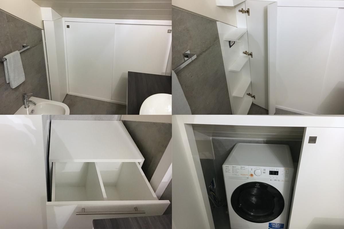 cassetti e ripiani per armadio sotto tetto nel bagno